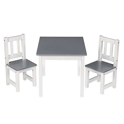 WOLTU SG014 Kindertisch mit 2 Stühle Kindersitzgruppe Holz Tischgruppe für Kinder Vorschüler Kindermöbel, 60x50x48cm, Weiß+Grau