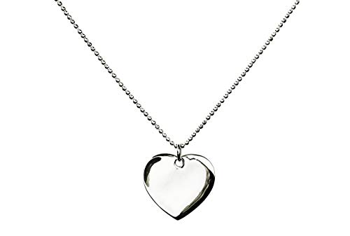 SILBERMOOS Anhänger mit Kette Gravur-Platte Herz zum Gravieren flach glänzend diamantierte Kugelkette Sterling Silber 925