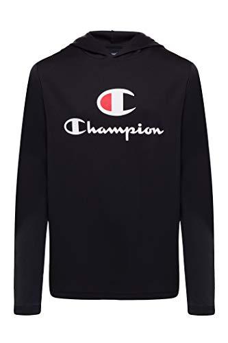 Champion Jungen Tech Langarm-Top mit Kapuze, leicht, für Kinder - Schwarz - XL