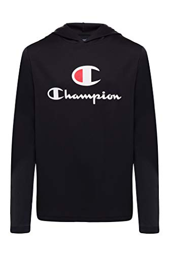 Champion Boys Tech Long Sleeve Top Active Hooded Tee Shirt for Kids Clothes (Large, Black)