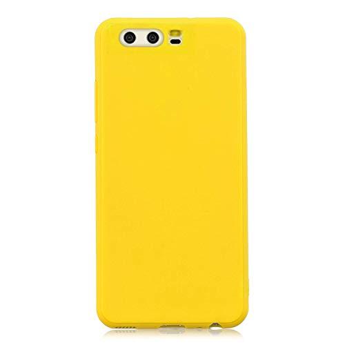 cuzz Funda para Huawei P10+{Protector de Pantalla de Vidrio Templado} Carcasa Silicona Suave Gel Rasguño y Resistente Teléfono Móvil Cover-Amarillo