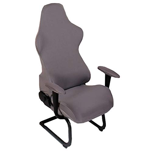 Deisy Dee Slipcovers Cloth Stretch Polyester Chair Cover for Reclining Racing Gaming Chair (Only Chair Covers) (Grey)