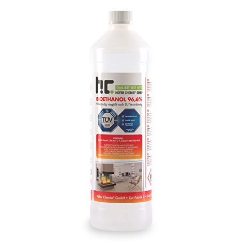 Höfer Chemie 1 L Bioethanol 96,6% Premium - TÜV SÜD zertifizierte QUALITÄT - für Ethanol Kamin, Ethanol Feuerstelle, Ethanol Tischfeuer und Bioethanol Kamin
