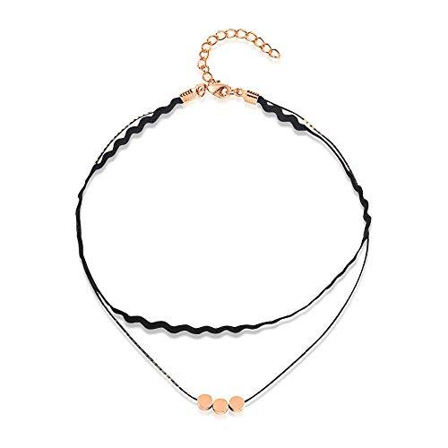 Persoonlijke accessoires, Kettingen, Multi Layer Choker Ketting voor Vrouwen Kralen Hanger Rose Goud Kleur met Pu Lederen Prachtig cadeau voor Meisje 3-40Cm, Thumby 33-40cm
