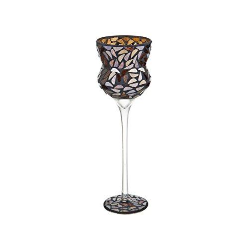 Elements Glass Mosaic Goblet Candleholder, 13-Inch