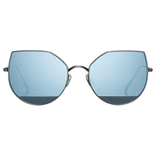Gafas de sol coreanas 2018 nuevo estilo de personalidad ojo de gato utiliza 101 cara redonda gafas sol espejo mujer marea estrella estilo, azul,