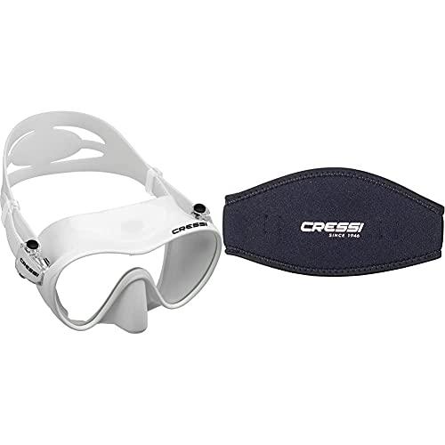 Cressi F1 Mask Máscara Monocristal Tecnología Frameless, Unisex, Blanco + Mask Strap Funda De Correa De Surf, Tamaño Único, Color Negro