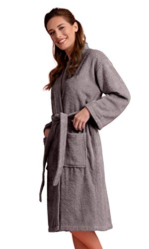 Bata de baño de lino suave y absorbente para mujer, de tela de rizo, kimono, larga 100% algodón turco, Gris, XXL