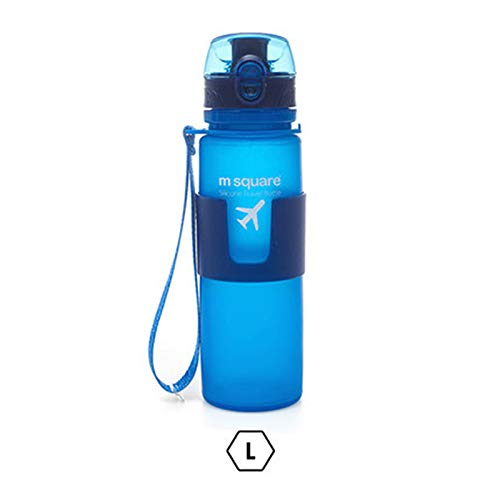 Water Bottle- Tritan Water Bottles - Leak Proof, Eco-Friendly Portable Sports Bottles with Filter, Flip Top Lid, Pop Opens with 1-Click - Reusable,BPA-Free Silicone Anti-Scald Cup Coat QG-11 (Blue)