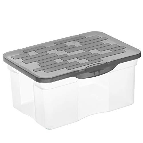 Rotho Ranger Aufbewahrungsbox A5 mit Deckel, Kunststoff (PP), Transparent/Anthrazit, 4.2 Liter