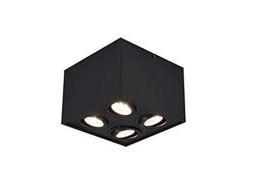 Faretti da soffitto a forma di cubo, con LED e 4 faretti orientabili, colore: nero opaco