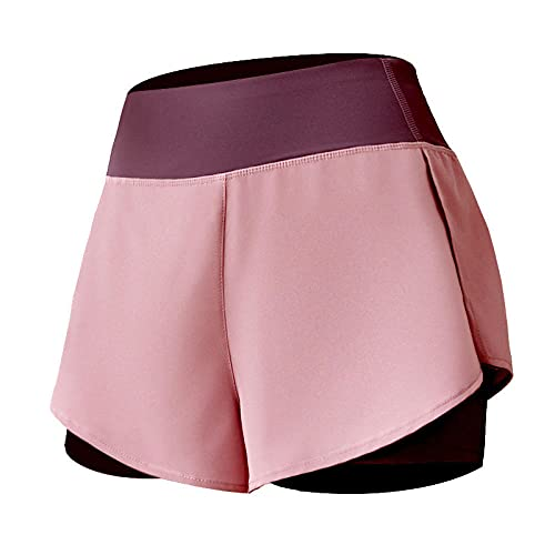 bayrick Mallas de Deporte de Mujer,Pantalones Cortos Anti-luz Fake Fally Dos de Alta Cintura Alta-3_S
