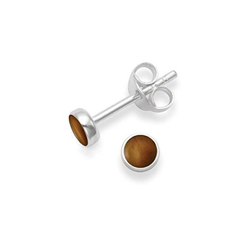 Broche de plata de ley 4 mm Juego de pendientes de tuerca redondo de ojo de tigre - TAMAÑO: 4 millimeter. Empaquetadas en nuestra calidad plateado caja de regalo por 1st class Mail.