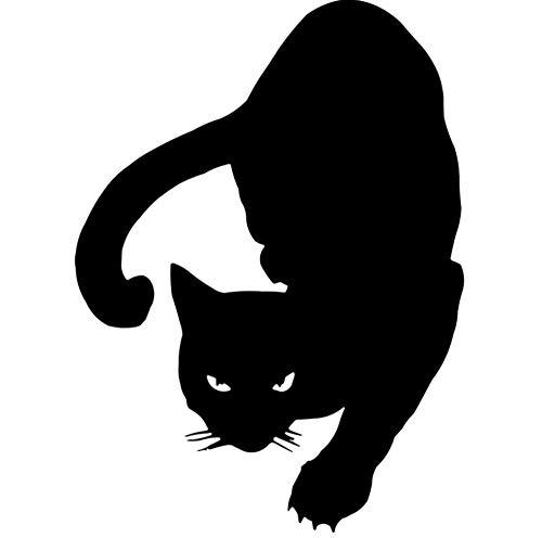 YJKIWX 2pcs Alert Cat Car Sticker Classic Car Styling Cover Scratch Stickers decorativos Negro 11.1 * 15.2CM