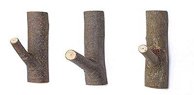 Decorative Wood Adhesive Hooks, Creative Vintage Wall Hooks, Key Holder, Strong Suction Hooks (Middle)