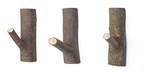 3 Stück Hakenleiste Holz Vintage Garderobenhaken Holz Natürliche Wandhaken Holz Kleiderhaken Wand Vintage Handtuchhaken Selbstklebender Baumhaken Geeignet für Wohnzimmer Mänteln (Mittel)