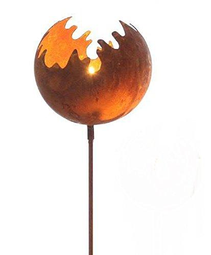 Edelrost Feuerkugel/Windlicht Metall D11 L77cm auf STAB rost