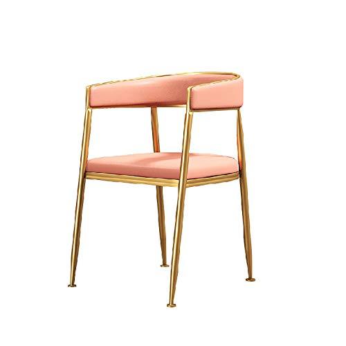 Enfastmässig stol, stol med baksida, modern nordisk bekväm bar avföring med metallben matsal pub kökstolar, pub, räknare, kök och hem,Pink