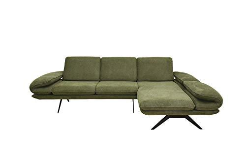 Domo Collection New York Ecksofa mit Arm- und Rückenfunktion / L-Form / 270 cm x 172 cm x 83 cm (BxTxH) / Webstoff in grün / Eckcouch mit Longchair inkl. Funktionen