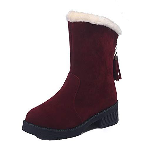 Botas de Invierno para Mujer Zapatos cálidos de Gamuza con Borla de Punta Redonda de Color sólido Botas de Nieve de tacón Cuadrado Antideslizantes con Plataforma para Mujer