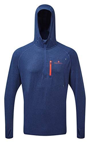 Ronhill Men's Momentum Workout Hoodie Sweat-Shirt à Capuche pour Homme XL Bleu/Orange (Rh-00643 Midnight Blue/Flame)