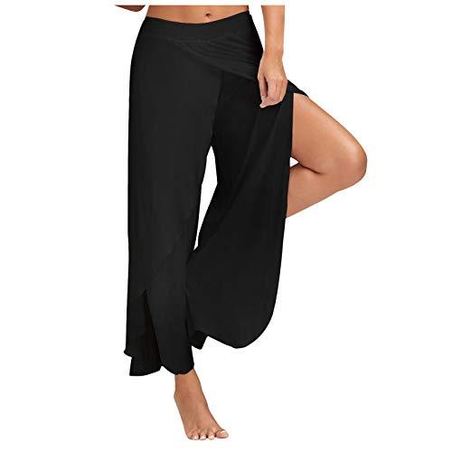Dasongff Pantalon Large Fluide Femme, Pantalon Fendu Grande Taille Femmes Taille Haute Couleur Unie Taille élastique Pantalon Droit décontracté Pantalon Large Legging été Hiver Yoga Sport