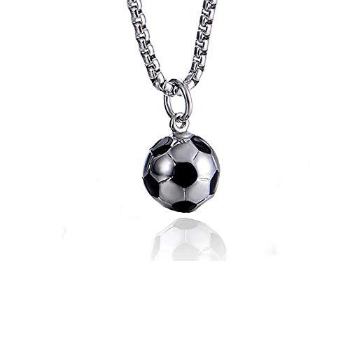Polyeder Fußball Anhänger Halskette für Jungen Mädchen rostfreier Stahl Halskette Geeignet für empfindliche Haut (22''Silber kette)