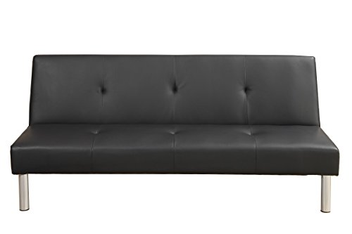 Poundex F7003 Sofa Cama de Estilo Contemporáneo, Color Negro