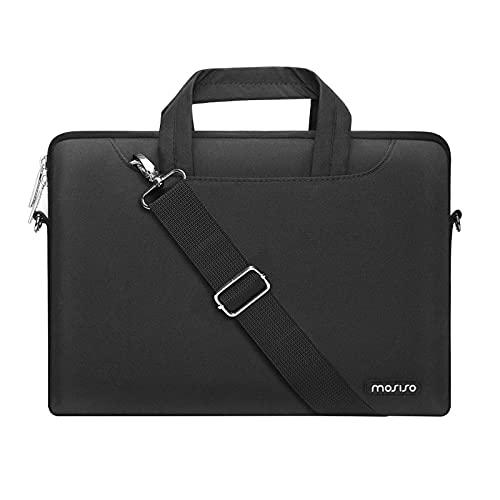 MOSISO Laptop Schulter Umhängetasche Kompatibel mit MacBook Pro/Air 13 Zoll, 13-13,3 Zoll Notebook, Polyester Aktentasche Hülle mit Reißverschluss Fach & Trolley Gürtel, Schwarz