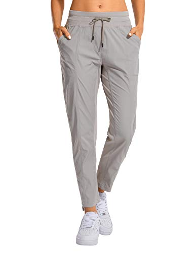 CRZ YOGA Women's Studio Joggers Striped Travel Lounge Pants Drawstring 7/8 Workout Casual Track Pants with Pockets Dark Chrome X-Small