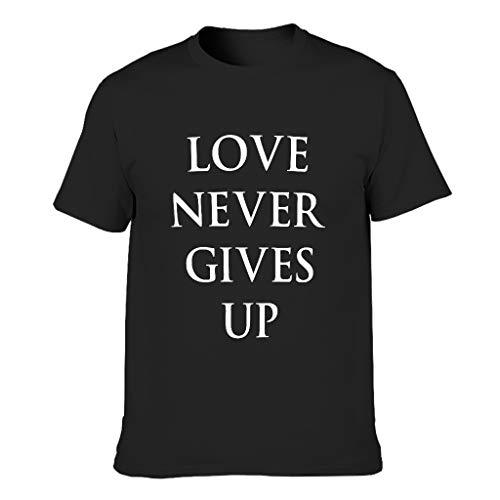 Love Never Gives Up 3D Kreativ Herren T-ShirtsRundhalsausschnittTee Slim Fit T-Shirt Motiv Tops T-Shirt T-Stücke Black 2X-Large