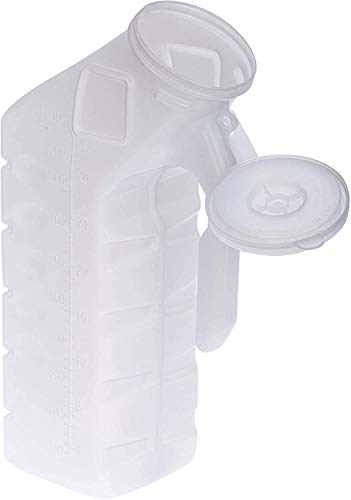 BodyHealt Deluxe Male Urinal Bottle  Urinals for Men 32oz/1000ml Bed Buddy with Spill Proof Lids Plastic Pee Bottle Portable Urinal for Men Pee Container Men for Car Camping amp Incontinence 1PC