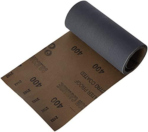 Wolfcraft 5816000 rollo de papel abrasivo en húmedo y seco, carburo de silicio, grano 400 PACK 1, 0 V, Negro, 3 m x 115 mm