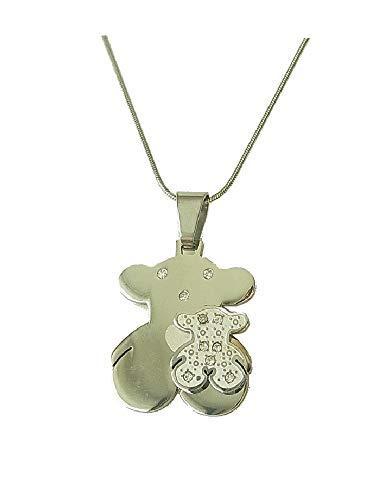 lordies Echt Edelstahl Kette Halskette mit Anhänger Teddy Mutter Kind Silber