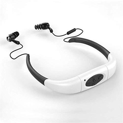Auriculares Estéreo Impermeables del Jugador De Música MP3 del Deporte con La Radio De FM para Nadar Que Practica Surf, Funcionando,White,8G