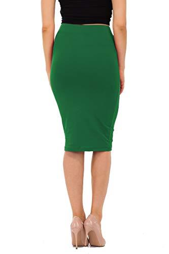 Basic Cotton Slim Fit Knee Length Skirt Kelly Green 2X