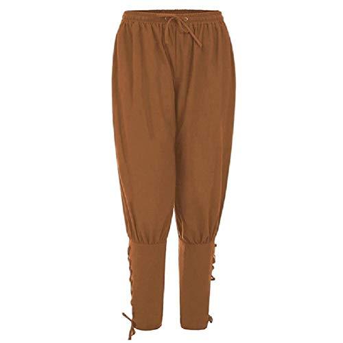 SWEETWU - Pantalones de tobillo medievales renacentistas para hombre, disfraz de pirata