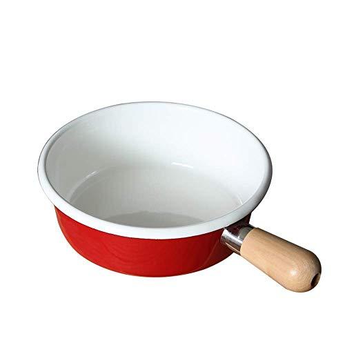 SGSG Padella Smaltata 7 Pollici Pentola Smaltata Pentola Pentola con Manico in Legno resiste alle Macchie di odori per Cucinare gamberetti Granchio gamberetti Pesce Bisquit ma