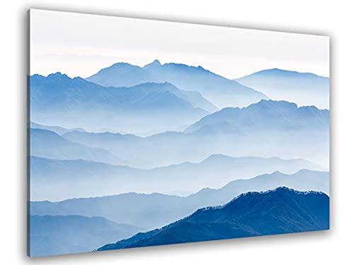 Hexoa Cuadro de Montañas Azul, fabricado en Francia – Cuadro cristal acrílico – 100 x 60