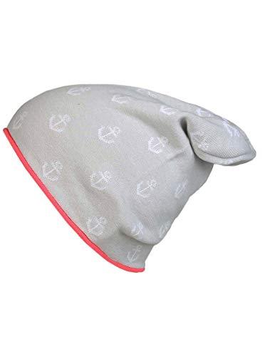 Zwillingsherz Slouch-Beanie-Mütze aus Baumwolle - Hochwertige Strickmütze mit Ankern für Damen Mädchen Jungen 2019 - Hat - One Size - perfekt für Frühjahr Sommer Winter - HGR