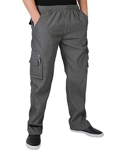 KRISP Männer Praktische Cargohose Gummizug Seitliche Taschen (Grau, Gr.XXX-L) (7918-GRY-XXXL)