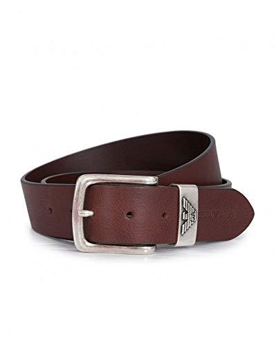 Cinturón de cuero con logotipo de Armani Eagle (color: marrón oscuro - tamaño: 38)