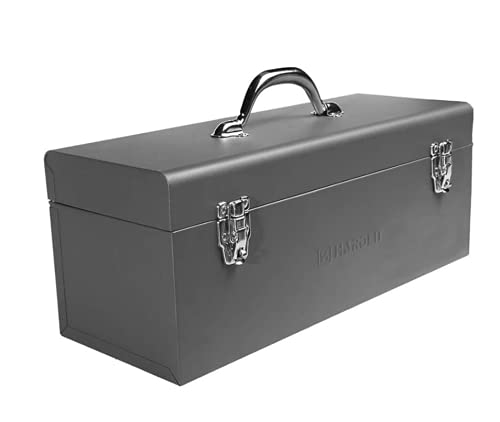 Edward Tools 17' Metal ToolBox - Heavy Duty Portable Tool Box with Organizer Tray and Handle - Solid Metal Locking Latches - Scratch Resistant Finish