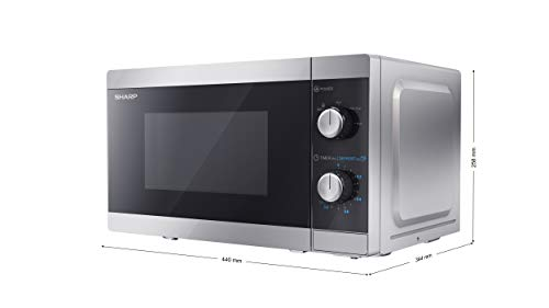 Sharp YC-MS01U-S 800W Solo Microwave Oven with 20 L Capacity, 5 Power Levels & Defrost Function – Silver
