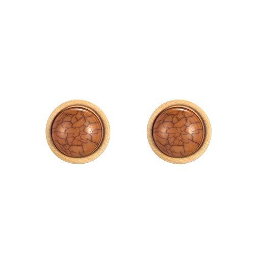 DFDLNL Conjuntos de Pendientes para Mujer Aros Pop Mujeres Redondo Beige Configuración de Madera 11 Colores Pendientes de botón de Piedra FiestaMarrón
