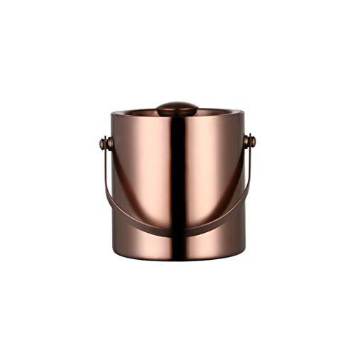Cubo De Hielo De Acero Inoxidable De Estilo Europeo, Cubo De Hielo De Doble Pared De Acero Inoxidable Aislado con Tapa, Pinzas para Hielo De Acero Inoxidable - 2L(Color:Oro Rosa)