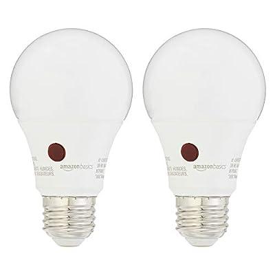 AmazonBasics 60 Watt Equivalent, Dusk to Dawn Sensor, Non-Dimmable, A19 LED Light Bulb - Soft White, 2-Pack