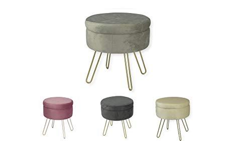 Avior Home Sitzhocker Schminkhocker gepolsterter Hocker Aufbewahrungsbox Abnehmbarer Bezug Metallstütze (Hellgrau)