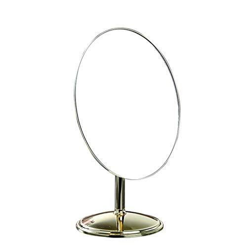 Espejo Espejo de maquillaje LED de luz, echó a un lado solo escritorio Chrome Ronda Encimera Espejo, metálicos for baño dormitorio principal Ducha Multi-Ángulo de giro Espejo para maquillarse