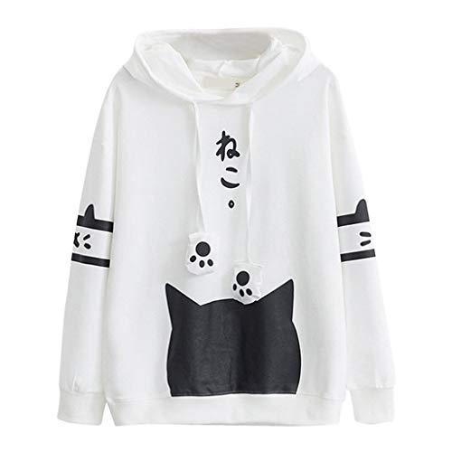 Lenfesh Sudadera con Orejas de Gato Casual Manga Larga Kawaii Sudaderas Adolescentes Chicas Tumblr Blusa Top Camisa (XXXL, Blanco-3)
